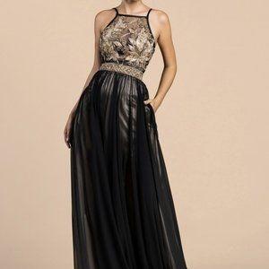 Jewel Bodice Halter Neckline A-Line Dress CD0227